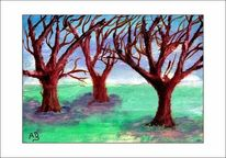 Winter, Gemälde, Baum, Himmel