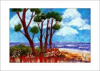 Meerlandschaft, Küste, Baum, Ölmalerei