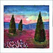 Landschaft, Sonnenuntergang, Wiese, Baum