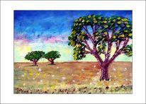 Baum, Gemälde, Wiese, Ölmalerei