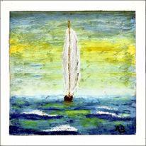 Segelboot, Welle, Gemälde, See