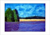 Landschaft, Baum, Wiese, Ölmalerei