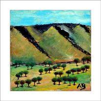 Berge, Pflanzen, Weinland, Baum