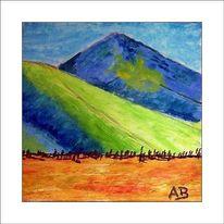 Gemälde, Tal, Berge, Wiese