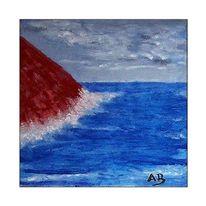 Küste, Welle, Gemälde, Himmel