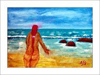 Wolken, Feminin, Gemälde, Küste