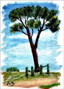Landschaftsmalerei, Baum, Wiese, Zaun