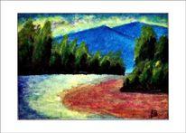 Ölmalerei, Baum, Berge, Zeitgenössisch malerei