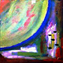 Haus, Mond, Ölmalerei, Moderne malerei
