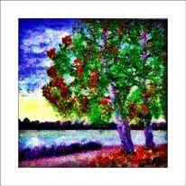 Ölmalerei, Blumen, See, Landschaft