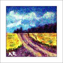 Ölmalerei, Feldlandschaft, Gras, Landschaftsmalerei