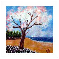 Küste, Wald, Baum, Acrylmalerei