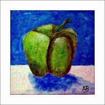 Grüne paprika, Ölmalerei, Früchte, Zeitgenössische malerei