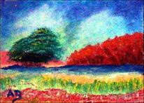 Flusslandschaft, Fluss, Pflanzen, Pmpressionismus