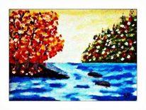 Ölmalerei, Baum, Wasser, Wolken