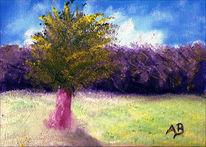 Ölmalerei, Baum, Feld, Sommer