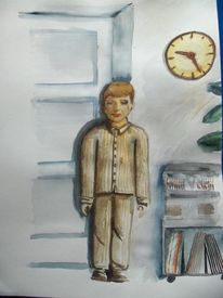 Mutter betraft kind, Aquarellmalerei, Lutz spieß, Lutz lila