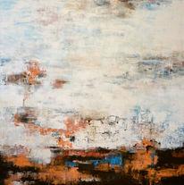Abstrakt, Braun, Malerei, Weiß