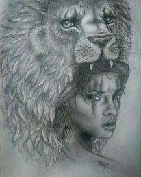 Zeichnung, Löwe, Bleistiftzeichnung, Schatten