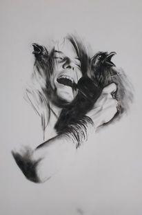 Schwarz weiß, Portrait, Janis joplin, Kohlezeichnung