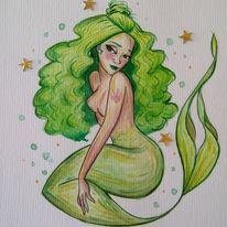 Meer, Aquarellmalerei, Wasser, Meerjungfrau