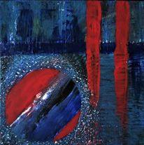 Abstrakt, Blau, Rot schwarz, Malerei