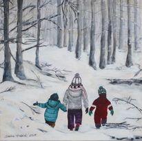 Kinder, Schnee, Wald, Acrylmalerei