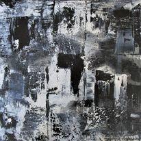 Weiß, Schwarz, Abstrakt, Malerei