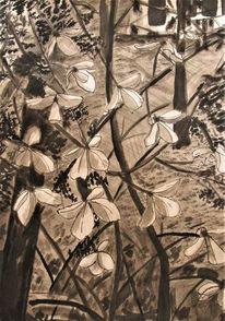 Hortensien, Blumen, Tusche, Zeichnung