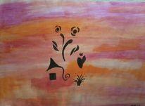 Vase, Abstrakt, Blumen, Malerei