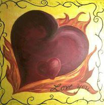 Herz, Flammen, Rahmen, Liebe