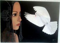 Frau, Fantasie, Taube, Malerei