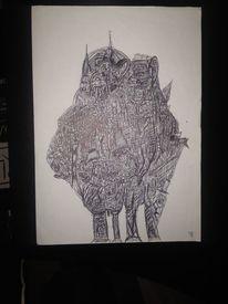 Interpretation, Abstrakt, Kugelschreiber, Schwarz