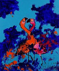 Flamingo, Abstrakt, Natur, Blau
