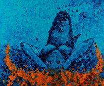 Meerjungfrau, Frau, Blau, Malerei