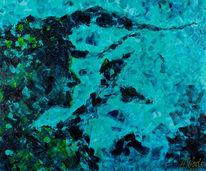Portrait, Meer, Blau, Abstrakt