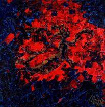Meerjungfrau, Abstrakt, Rot, Malerei