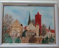 Rot, Schlitzer kerze, Weihnachten, Aquarellmalerei