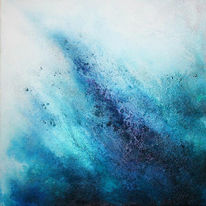 Tuschmalerei, Asche, Blau, Pigmente