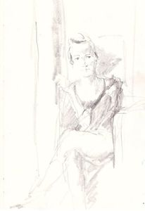 Frau, Portrait, Sitzen, Zeichnungen