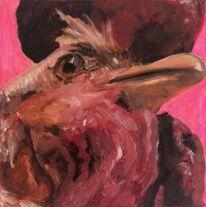 Hahn, Tierportrait, Ölmalerei, Malerei