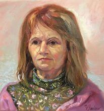 Frau, Portrait, Gesicht, Ölmalerei