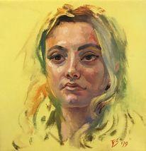 Jung, Gelb, Portrait mädchen, Licht