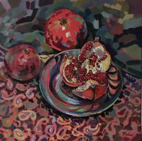 Licht, Granatapfel, Stillleben, Rot