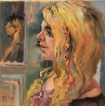 Mädchen, Frau, Portrait, Gelb