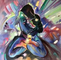 Menschen, Ölmalerei, Neonlicht, Mann