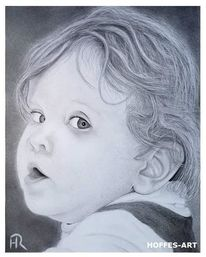 Zeichnung, Mädchen, Portrait, Bleistiftzeichnung