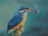 Eisvogel, Vogel, Fisch, Blau