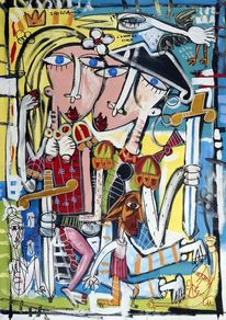 Malerei, Schwert, Zeitgenössische kunst, Kubismus
