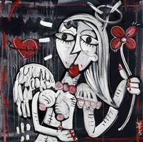 Acrylmalerei, Rot, Frau, Engel